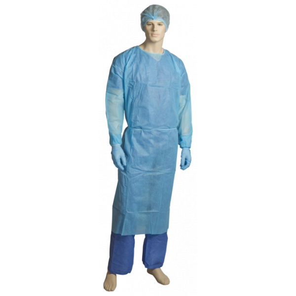 PP/PE FLUID RESISTANT CLINICAL GOWN - BLUE-SYDNEYCLEANINGSUPPLIES