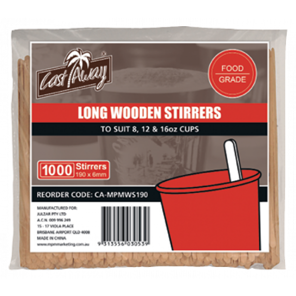 CASTAWAY LONG WOODEN STIRRERS-SYDNEYCLEANINGSUPPLIES